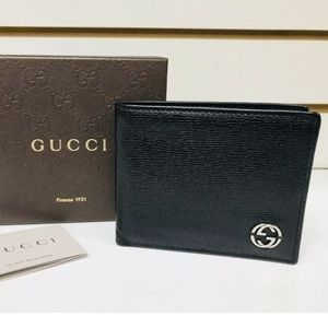 Gucci Men's Black Leather Bifold Wallet with BOX